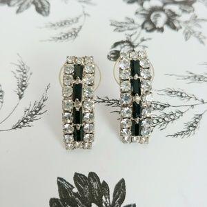 Vintage onyx and rhinestone bar earrings